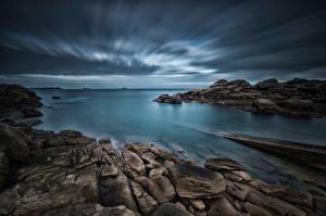 Bilder Frankreich Küste Stein Abend Brittany, Ploumanac'h Natur