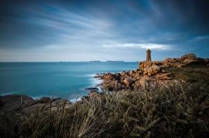 デスクトップの壁紙、、フランス、海岸、石、灯台、海、Brittany, Ploumanac'h, Mean Ruz、