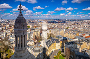Photo France Houses Paris Street From above Clouds Towers