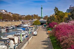 Bakgrunnsbilder Frankrike Elvefartøy Paris Waterfront Trær
