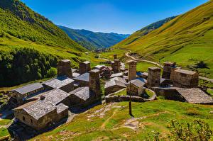 Bureaubladachtergronden Georgië Berg Gebouw Vallei Ushguli village, Svaneti