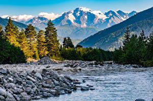 Bilder Georgien Berg Fluss Steine Landschaftsfotografie Bäume Mazeri Village, Upper Svaneti