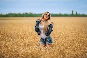 Hintergrundbilder Georgiy Dyakov Acker Blondine Posiert Shorts Unterhemd Jacke Brille junge frau