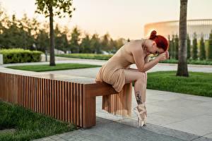 Hintergrundbilder Georgiy Dyakov Rotschopf Sitzen Bank (Möbel) Bein Kleid Posiert Ballett Mädchens