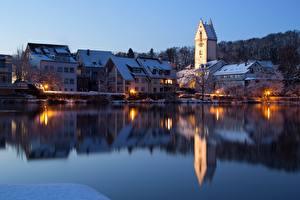 Hintergrundbilder Deutschland Haus See Abend Spiegelung Spiegelbild Turm  Städte