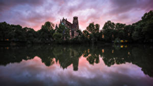 Images Germany Lake Church Evening Reflected Trees St. John's Church, Stuttgart Nature