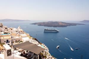 Sfondi desktop Grecia Isola Mare Nave da crociera Vista dall'alto Santorini, Aegean sea Natura