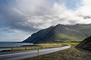 デスクトップの壁紙、、アイスランド、海岸、道、山、雲、自然