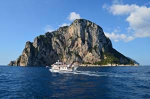 Papel de Parede Desktop Itália Ilha Mar Barco transporte fluvial Penhasco Insel Capri