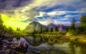 Images Italy Mountains Lake Clouds Trees Alps HDR Dolomites