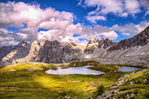 Images Italy Mountain Lake Scenery Clouds Alps HDR Dolomites