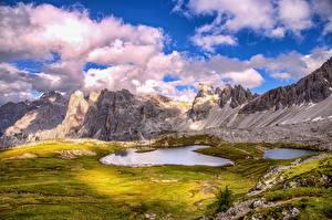Fotos Italien Berg See Landschaftsfotografie Wolke Alpen HDR Dolomites