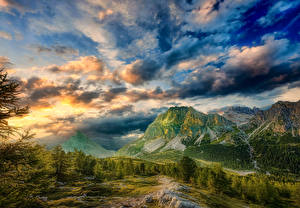 Photo Italy Mountain Sky Scenery Clouds Alps Trees HDR Dolomites
