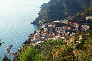 Wallpapers Italy Park Coast Sea Cinque Terre park Village From above Riomaggiore