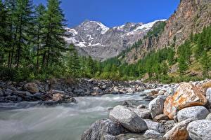 Fonds d'écran Italie Parc Montagne Forêts Rivière Pierres Valle d'aosta, Gran Paradiso national Park Nature