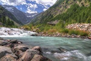 Fotos Italien Fluss Berg Stein Parks HDRI Valle d'aosta, Gran Paradiso national Park