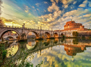 Picture Italy Rome River Bridge Castles Sky Reflected Clouds HDR Castel Sant'Angelo