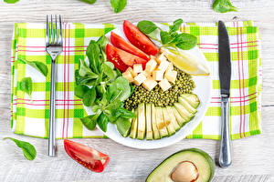Pictures Knife Vegetables Green peas Tomatoes Cheese Plate Fork Basil