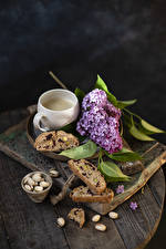 Images Lilac Coffee Nuts Bread Wood planks Branches Cup Food Flowers