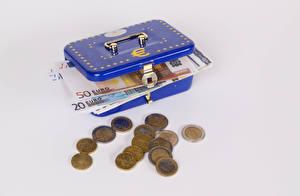 Fotos Geld Münze Papiergeld Euro Schachtel Grauer Hintergrund