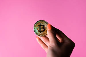 Wallpaper Money Coins Bitcoin Hands Manicure Pink background
