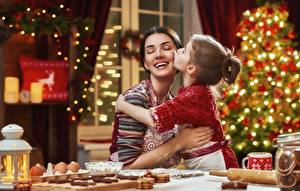 Wallpaper Mother New year Smile Happy Little girls young woman Children