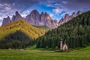 Wallpaper Mountains Forests Church Italy Alps Dolomites, Santa Maddalena