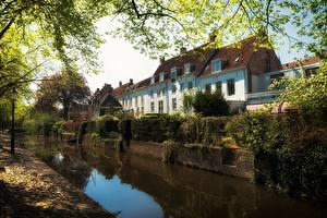 Hintergrundbilder Niederlande Haus Kanal Bäume Amersfoort Städte