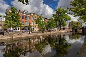 Hintergrundbilder Niederlande Haus Bäume Spiegelt Kanal Bierkade, Hague