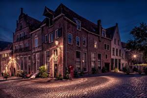 Pictures Netherlands Houses Night Street Street lights Deventer Cities