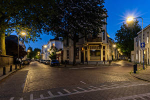 Wallpaper Netherlands Building Evening Street Street lights Arnhem Cities