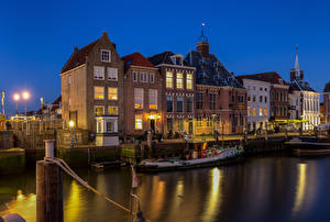 Wallpapers Netherlands Building Water Boats Night time Maassluis