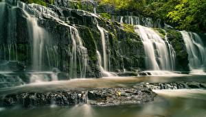 Hintergrundbilder Neuseeland Fluss Wasserfall Steine Purakaunui River, Purakanui Falls Natur
