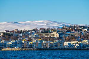Фотографии Норвегия Гора Здания Снега Tromso