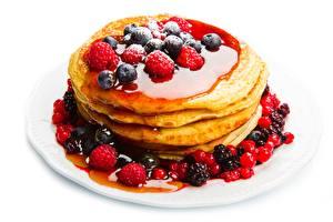 Image Pancake Fruit preserves Berry Blueberries Raspberry White background