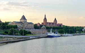 Pictures Poland Sunrises and sunsets Rivers Riverboat Stettin Cities