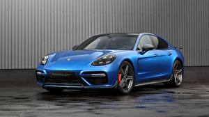 Hintergrundbilder Porsche Blau Metallisch Panamera, GT Edition Autos