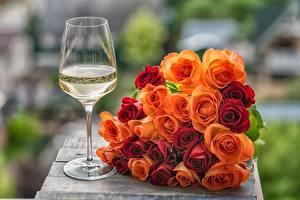 Bilder Rose Blumensträuße Weinglas Blüte