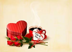 Bureaubladachtergronden Rozen Koffie Valentijnsdag Wenskaart Sjabloon Hartje Een kopje Gekleurde achtergrond bloem