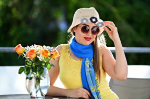 Images Rose Sitting Frock Hat Glasses Scarf Vase Yasmin female Flowers