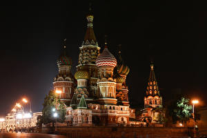 Images Russia Moscow Temple Night time Street lights Saint Basil's Cathedral in Red Square