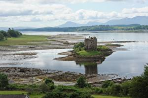 Tapety na pulpit Szkocja Zamek Jezioro Castle Stalker, Loch of Lac Miasta