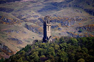 Wallpaper Scotland Mountain Trees Towers Wallace Monument Stirling, Stirling Nature