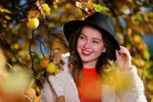 Photo Hat Cute Smile Branches Leaf Bokeh Selina young woman