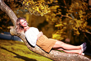 Photo Trunk tree Laying Legs Smile Skirt Blouse Staring Blurred background Selina