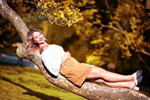 Fotos Baumstamm Liegen Bein Lächeln Rock Bluse Starren Unscharfer Hintergrund Selina junge frau