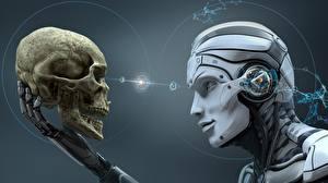 Bakgrunnsbilder Hodeskaller Robot Hode 3D grafikk