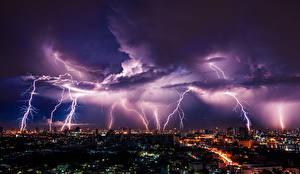 Sfondi desktop Cielo Elemento naturale Notte Fulmine Nuvole Megalopoli Natura