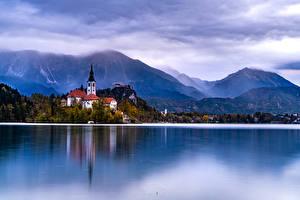 Фотографии Словения Озеро Гора Берег Дома Lake Bled Природа