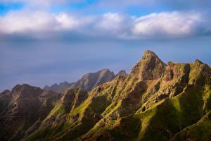 Bakgrunnsbilder Spania Fjell Klippe Skyer Tenerife, Anaga Natur